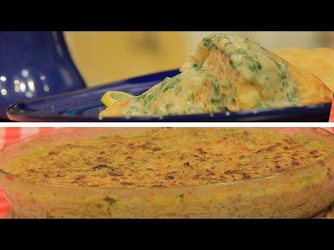 طريقة عمل سالمون في العجينة الهشة مع صوص الأعشاب  بطاطس ديفنواز