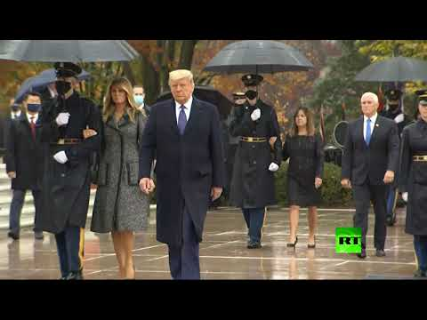 شاهد ترامب وزوجته يُشاركان في مراسم إحياء يوم المحاربين القدامى